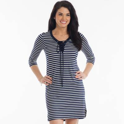 Stripe Lace-Up Knit Dress