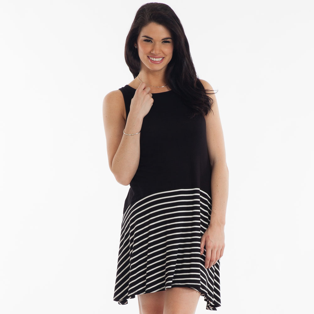 Tres Bien Stripe-Hem Dress in Black and White