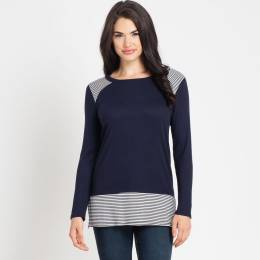Tres Bien Navy Blue Striped Waffle Top