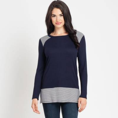 Navy Blue Striped Waffle Top