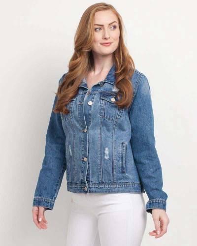 Exclusive Distressed Denim Jacket in Blue