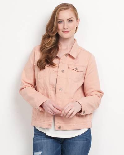 Exclusive Distressed Denim Jacket in Pink