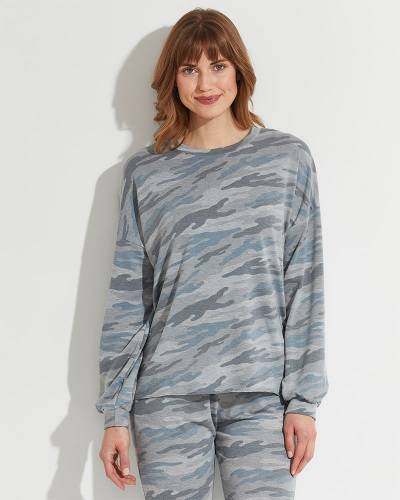 Exclusive Lounge Pullover Top in Blue Camo
