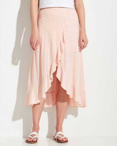 Exclusive High-Low Ruffle Skirt in Pink