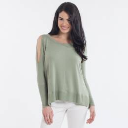 Misia Cold Shoulder Long Sleeve Top in Sage