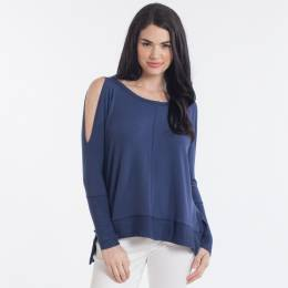 Misia Cold Shoulder Long Sleeve Top in Blue