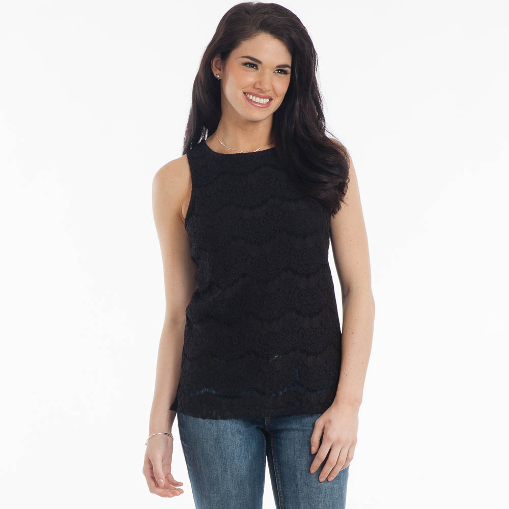 Jolie Sleeveless Lace Top in Black