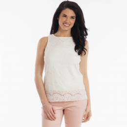 Jolie Sleeveless Lace Top in Ivory