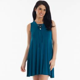 Jolie Tie-Neck Dress in Blue