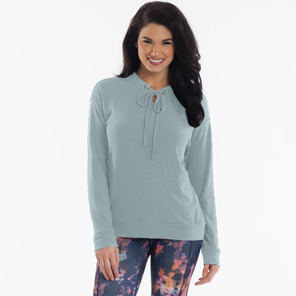 Mia and Tess Lace-Up Top in Mint