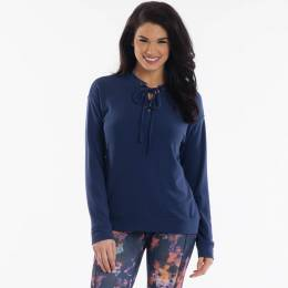 Mia + Tess Designs ™ Lace-Up Top in Navy