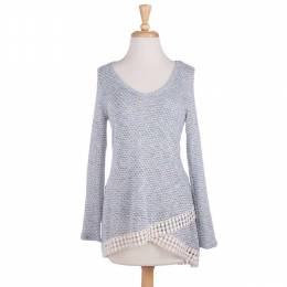 Fantastic Fawn Long Sleeve Sweater Tunic with Crochet Trim