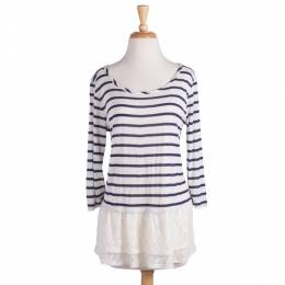 Fantastic Fawn Lace Bottom Oatmeal and Navy Striped Tunic