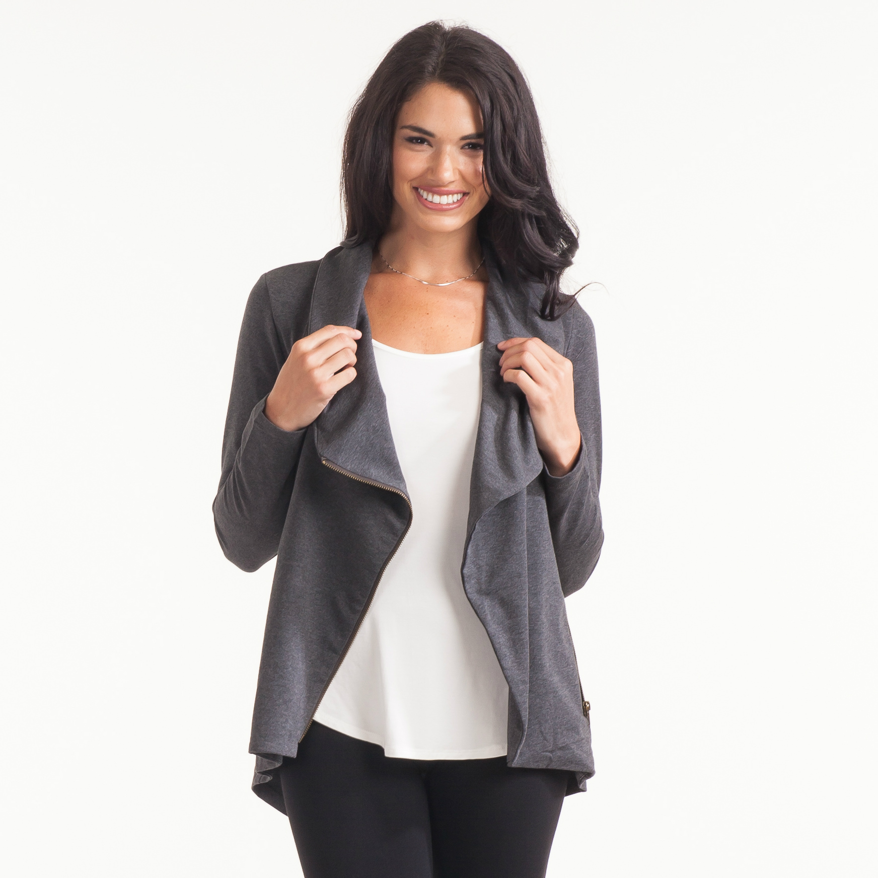My Beloved Charcoal Asymmetrical Zip Jacket