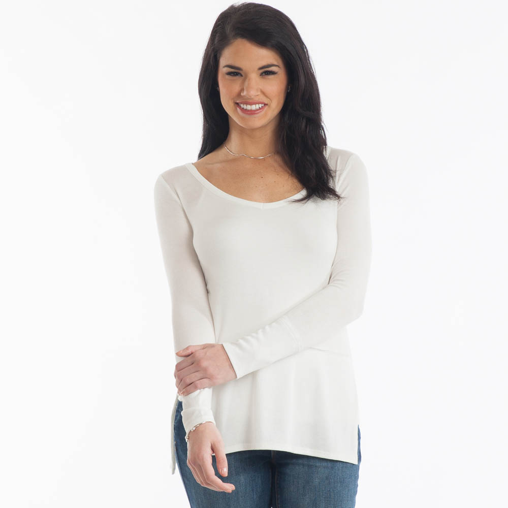 My Beloved Ribbed Hem Top in Ivory