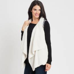 Hem and Thread Faux Shearling Vest