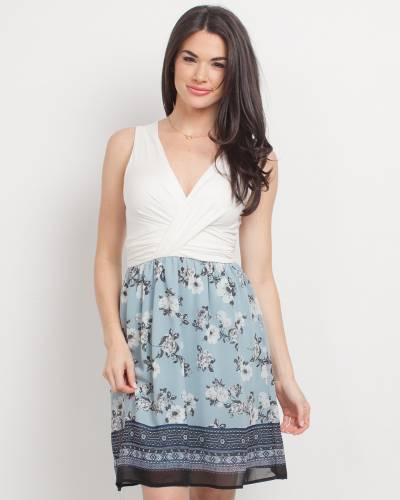 Exclusive Cross-Top Floral Dress in White and Mint
