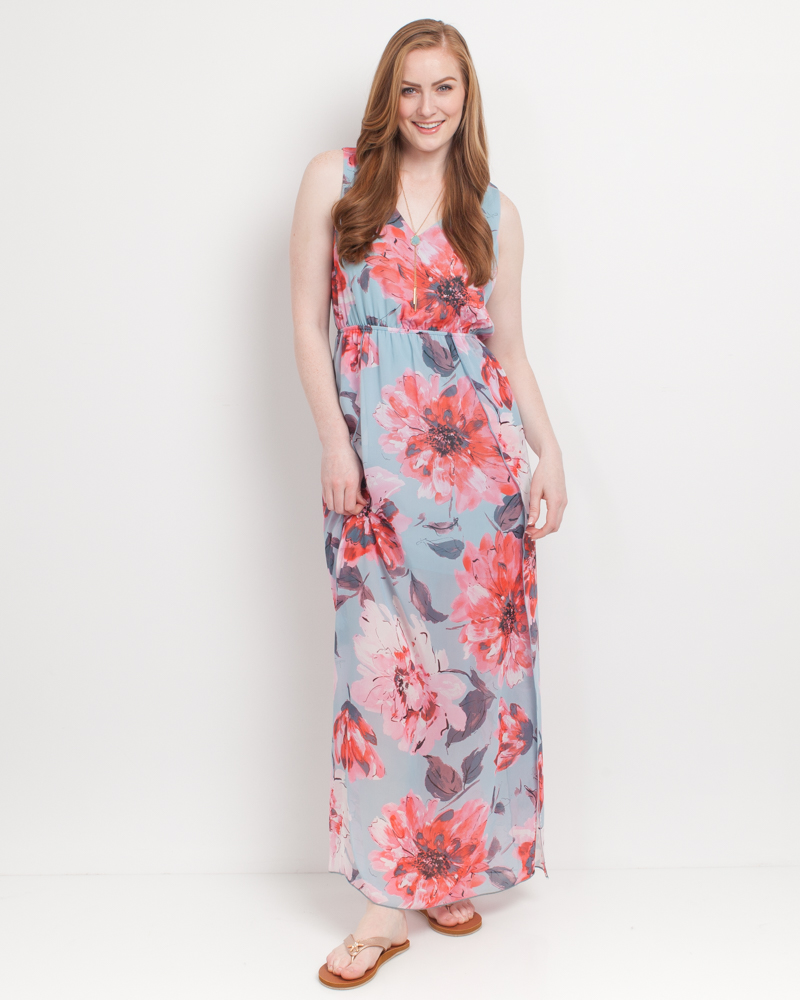 533dab296c Mia + Tess Designs ™ Exclusive Floral Maxi Dress in Blue and Pink | The  Paper Store