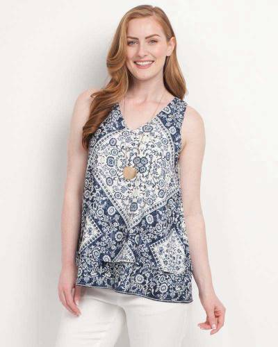 Exclusive Paisley Tank in Navy and Off-White