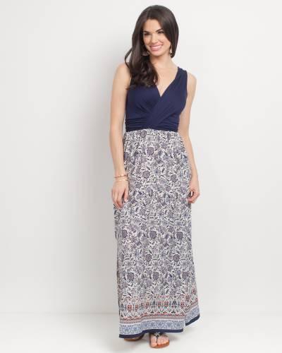 Exclusive Cross Top Tile Print Maxi Dress in Navy
