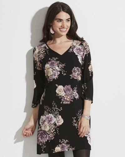 Exclusive V-Neck Floral Dress in Black and Purple