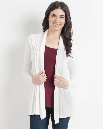 Pleated Waterfall Cardigan in Ivory