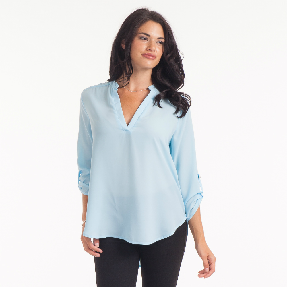 Misia Split-Neck Solid Tunic
