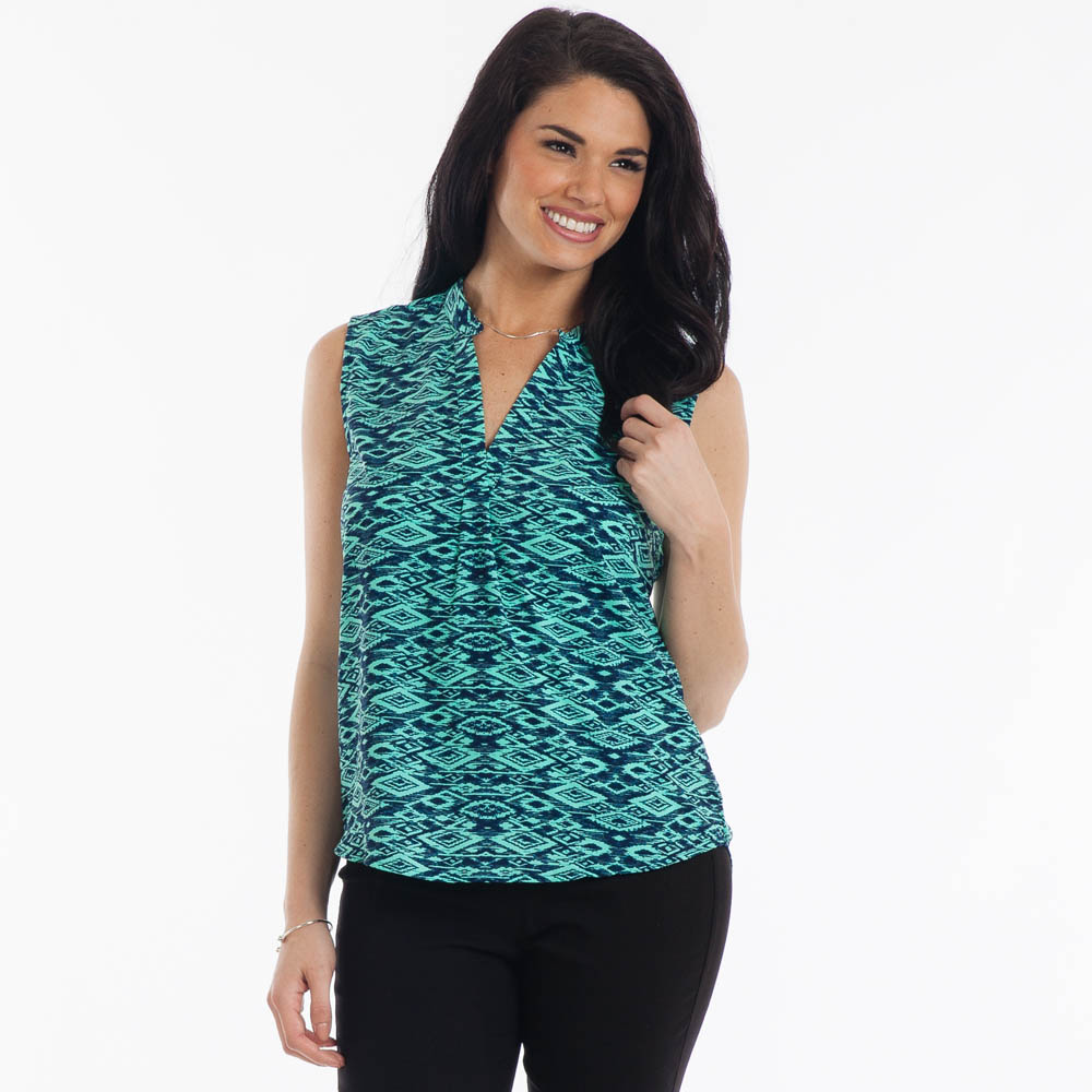Misia Aztec Print Tank in Mint and Blue