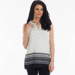 Misia Paisley Border Tunic in Sage