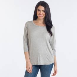 Misia Button-Back Top in Heather Grey