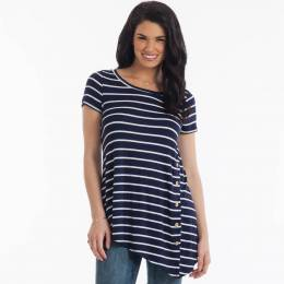 Misia Striped Side Button A-Line Top in Navy Blue
