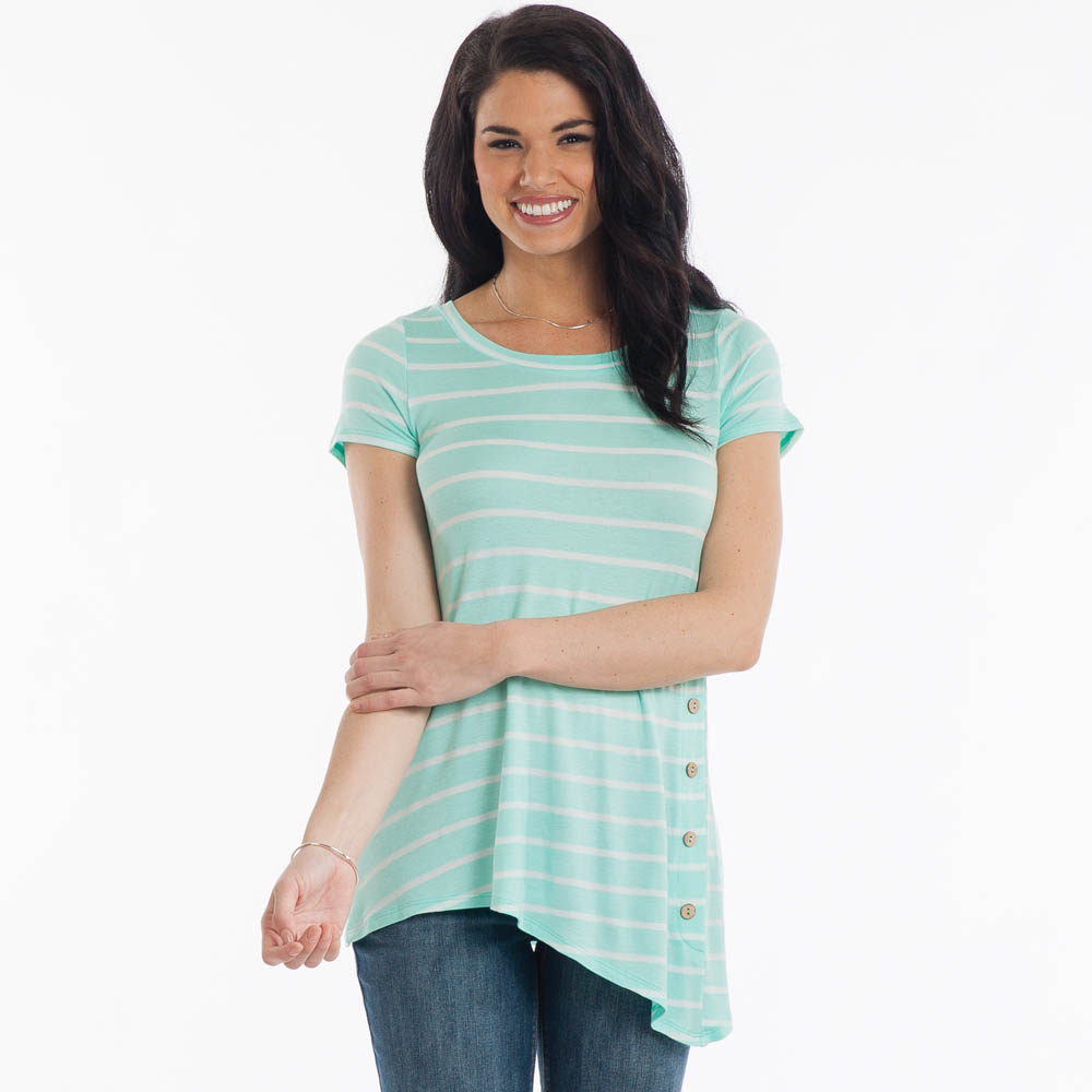 Misia Striped Side Button A-Line Top in Mint