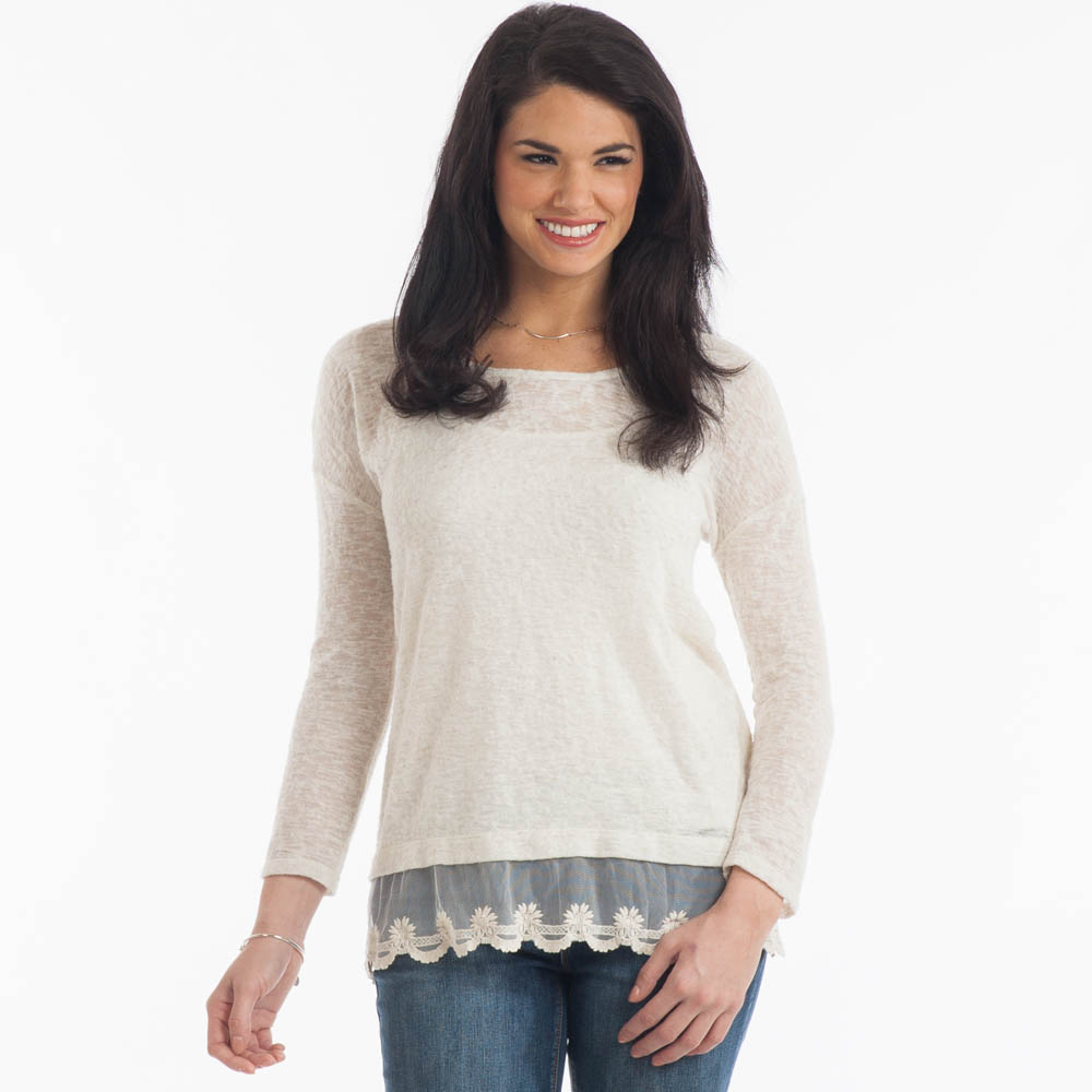 Misia Lace Bottom Slub Top in Ivory