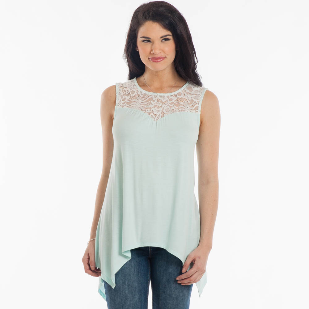 Misia Lace A-Line Top in Mint
