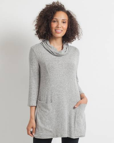 Brushed Heather Tunic Dress in Grey