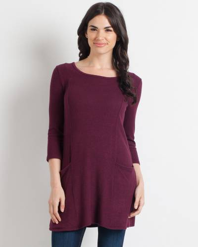 Brushed Heather Tunic Dress in Burgundy