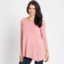 Mia and Tess Side-Button Tee in Mauve