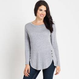 Misia Navy Heather Buttoned Top