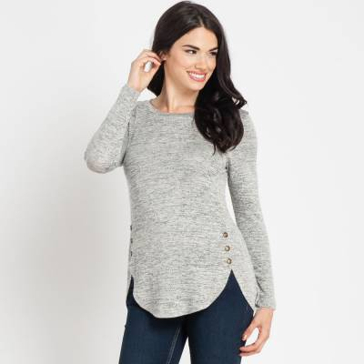 Black and White Heather Buttoned Top