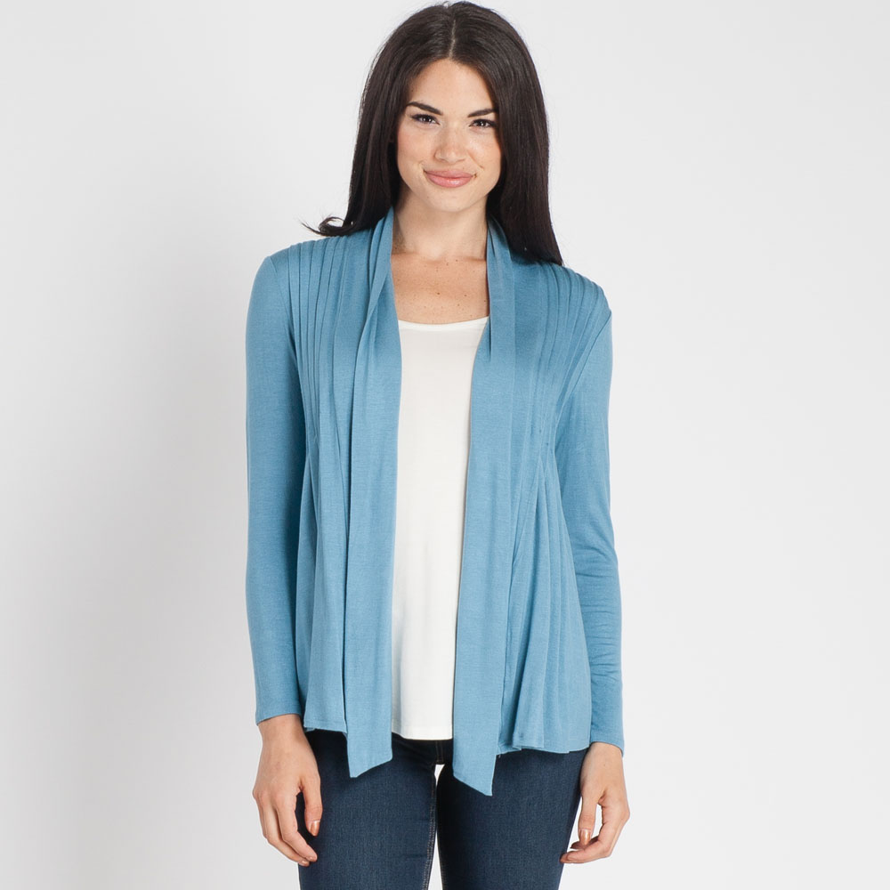 Misia Pleated Waterfall Cardigan in Blue | The Paper Store
