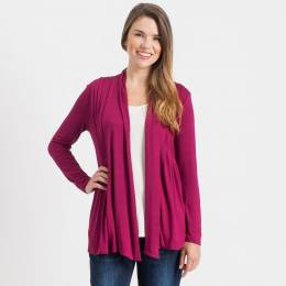 Misia Pleated Waterfall Cardigan in Plum