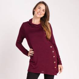 Mia + Tess Designs ™ Asymmetrical Tunic Top in Burgundy