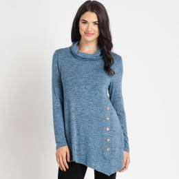 Mia + Tess Designs ™ Asymmetrical Tunic Top in Denim Blue