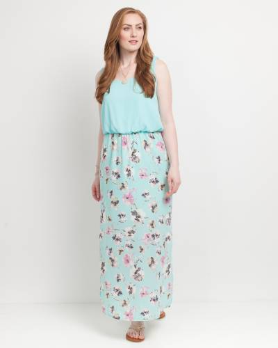 Exclusive Floral Print Maxi Dress in Mint