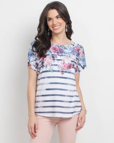 Exclusive Black and White Stripe Floral Top