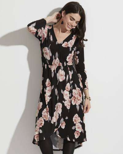 Exclusive Floral Wrap Front Midi Dress in Black