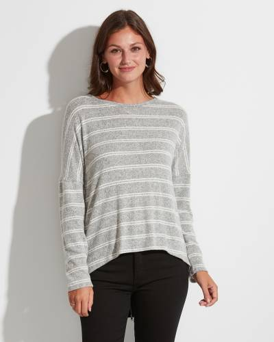 Exclusive Striped Zipper-Back Top in Grey and White