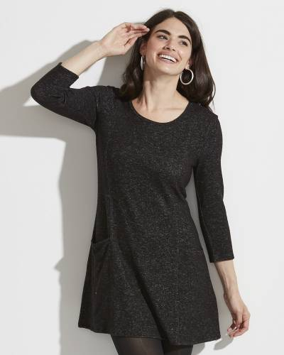 Exclusive Brushed Heather Tunic Dress in Black and White