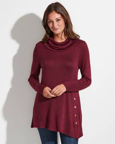 Exclusive Asymmetrical Cowl Neck Tunic in Burgundy