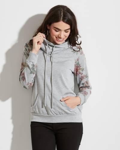 Exclusive Floral-Sleeve Hoodie in Grey